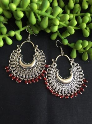 oxidized silver chandbali