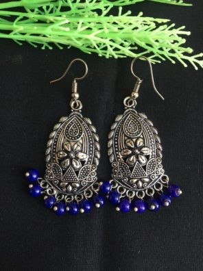 oxidized earrings with blue pearls