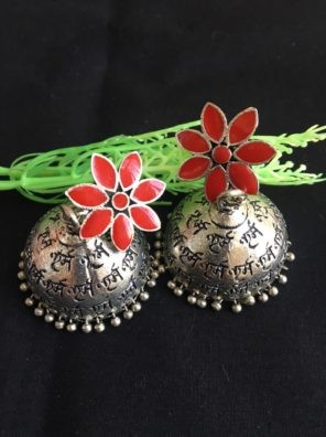 Red jhumka earrings