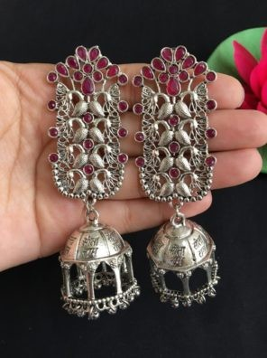 oxidized pink earrings