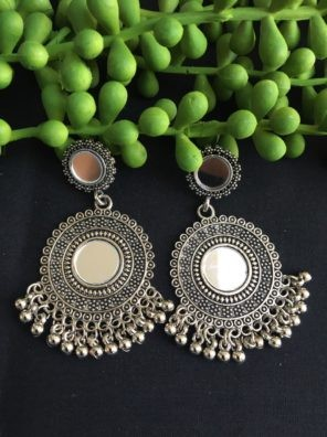 Oxidized silver round earrings