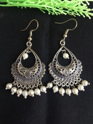 oxidized earrings with white pearl