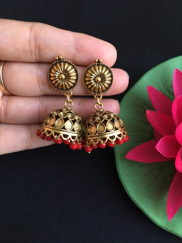 Gold and maroon earrings