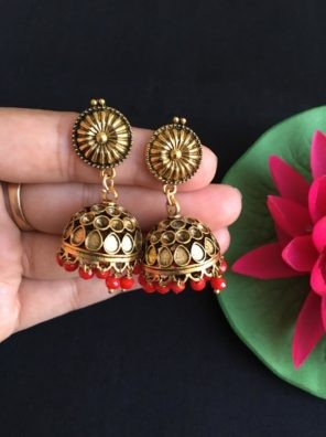 Gold red jhumkas