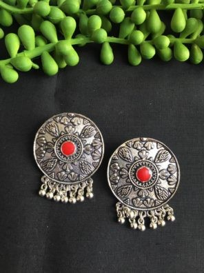 silver red stud earrings