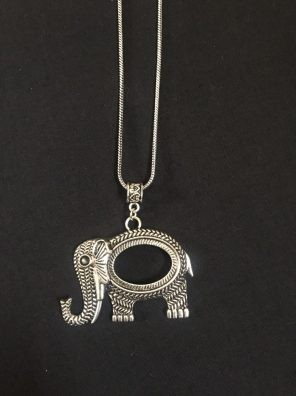 oxidized elephant pendant set