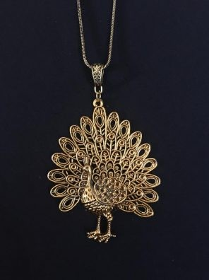 Golden peacock pendant set