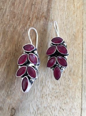 Silver maroon stud earrings