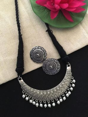 Silver plated black necklace