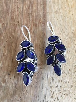 blue silver stud earrings
