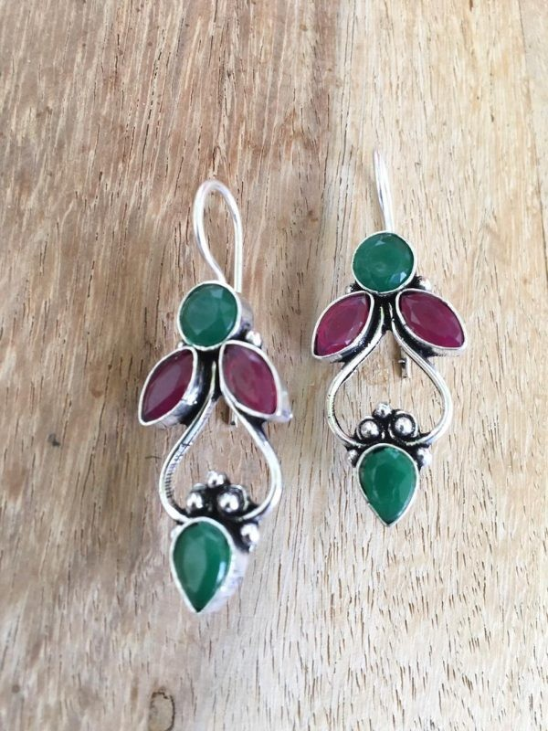 red and green stone earrings