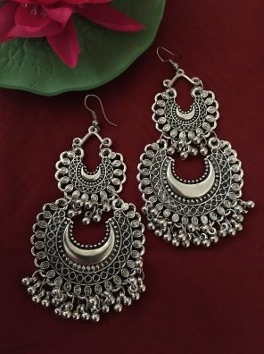 Silver double layer jhumka