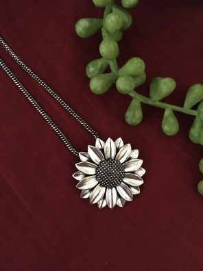 Oxidized Sunflower Pendant