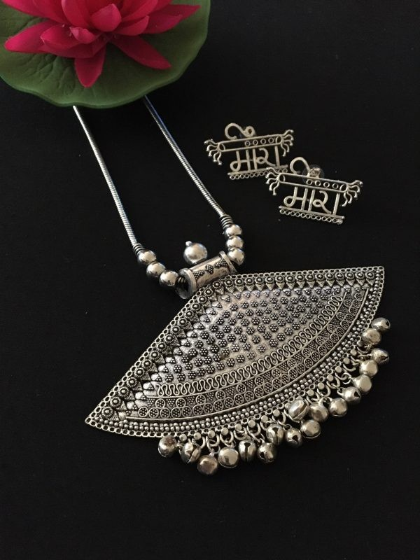 Silver ghungroo necklace