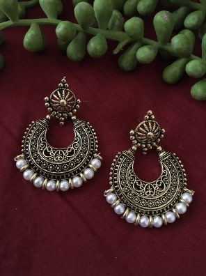 White pearl gold jhumkas