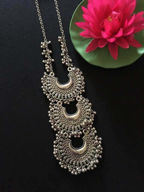 Silver ghungroo necklace set