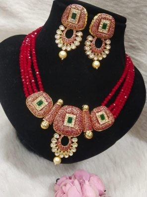 Red necklace for women