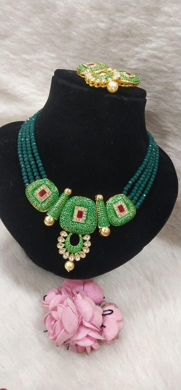 Green necklace set for women