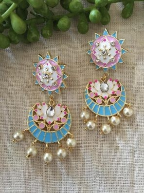 Pink and blue earrings